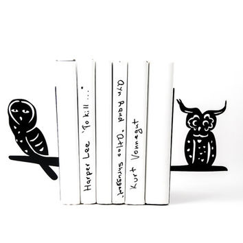 Bookends A Pair of wise birds black laser cut metal bookends strong enough to hold your books