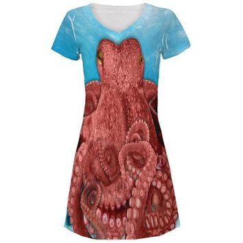 LMFCY8 Octopus  Costume All Over Juniors V-Neck Dress