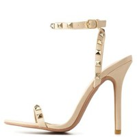 Nude Studded Single Sole Ankle Strap Heels by Charlotte Russe