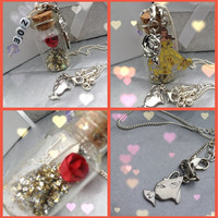 Disney Beauty and the Beast themed necklace by cakeatbreakfast
