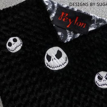 Jack SkeLLinGToN NiGHTMaRe Before ChRiSTmAS BABY BLANKeT MiNKY SWiRL EMBROiDERED PERSONALiZED +PiLLOW avail Designs by Sugarbear