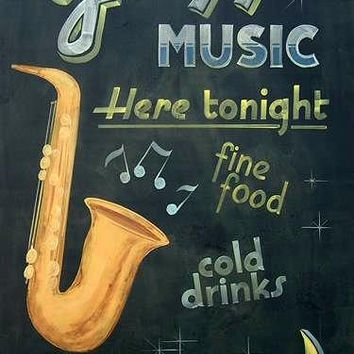 Large Jazz Music Sign, Billboard, Home Bar, Retro Vintage Jazz