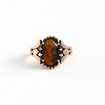 Antique Victorian 10k Rose Gold Carved Tiger's Eye Lady Cameo Ring - Vintage 1880s Women's Size 3 3/4 Golden Brown Oval Gem Fine Jewelry
