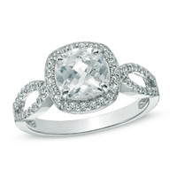7.0mm Cushion-Cut Lab-Created White Sapphire Ring in Sterling Silver