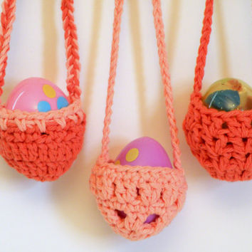Easter Egg Baskets, Hanging Easter Decoration Baskets, Crocheted in Coral and Peach Cotton, Set of 3