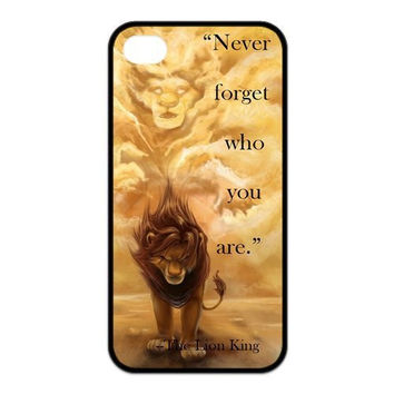 Never forget who you are Lion King Case for iPhone 4 4S 5 5S 5C 6 6s 6plus 6s plus Cover Fits Case