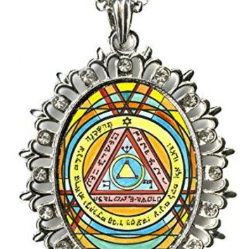 Solomons 6th Sun for Invisibility Huge Silver Medallion Rhinestone Pendant