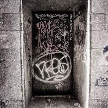 Graffiti - Gray, Black, White - Fine Art Photo - Grunge - Urban