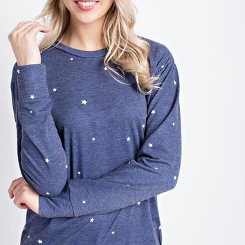 Navy Star Printed French Terry Sweater