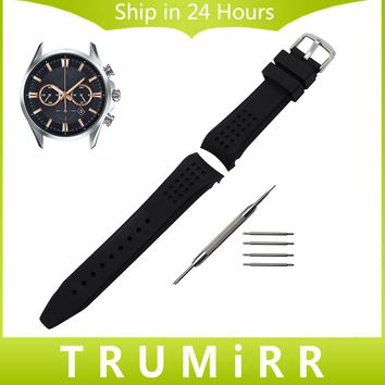 Curved End Silicone Rubber Watchband 22mm for Casio Edifice Lineage Watch Band Wrist Strap Stainless Steel Buckle Bracelet Black