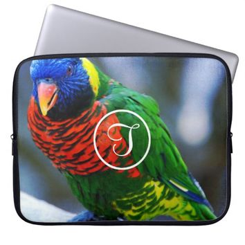 Red green bird photo custom monogram laptop sleeve