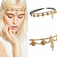 Chain Flower Elegant Head Jewlery Rhinestone Gold Elastic Headband