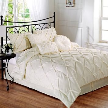 Chezmoi Collection Sydney 6-piece Pintuck Comforter Set, Twin Size, (Ivory)