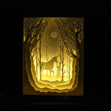 Silhouette Unicorn and girl paper cut Light box Night light Accent Lamp birthday gift idea shadow box kids baby nursery room art lightbox