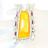 Antique 120 years old Russian Baltic amber brouch turned into a pendant , pink Tourmaline accent , Sterling silver wire ,  Wire Wrap pendant