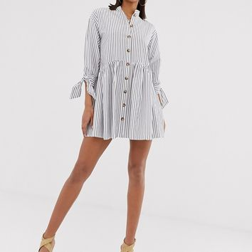 ASOS DESIGN grandad collar button through mini smock dress with tie sleeve in stripe | ASOS