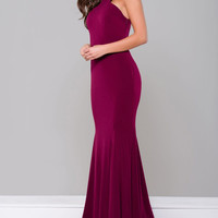 JVN by Jovani High Halter Fitted Dress- Bordeaux