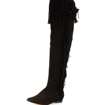 Joie Idalia Fringe Suede Over-the-Knee Boot, Black