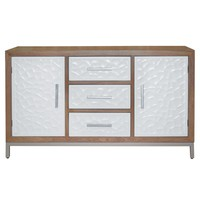 Montez Flagstone Pattern Sideboard 3 Drawers + 2 Doors Silver Frame, White/Natural