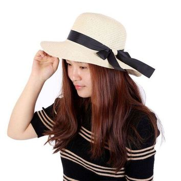 LMF78W Summer Elegant Women's Wide Brim Straw Beach Hats Bowknot Sun Hat Casual Caps