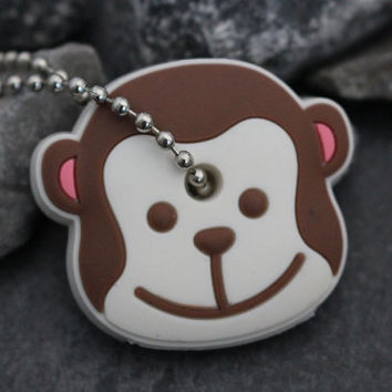Monkey Key Cover, Silicone Keychain, Gorilla Keyfob, Animal Key Chain, Rubber Key Topper, Key Fob, Gift for Her, Girlfriend Gift,Cute Kawaii