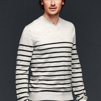 Gap Men Merino Stripe Slub V Neck Sweater