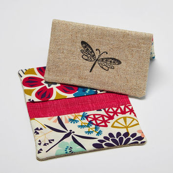 Credit Card Holder, Business Card Case, Fabric Bifold Wallet in Organic Tropical Flowers and Dragonfly