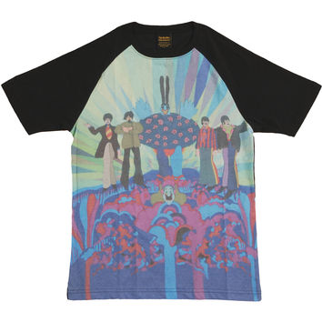 Beatles Men's  Yellow Sub Meanies & Band Sublimation T-shirt Black Rockabilia