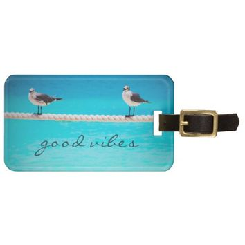 """Good vibes"" happy beach birds photo luggage tag"