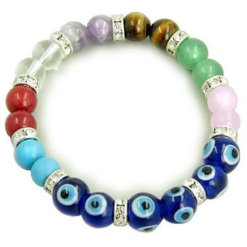 Chakra Gemstones and Evil Eye Swarovski Crystals Blue Eyes Bracelet