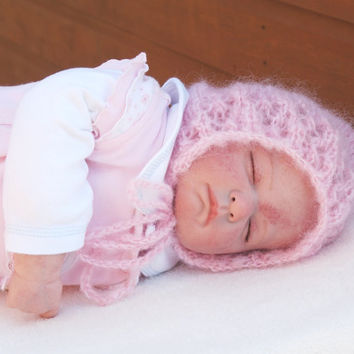 Pixie Hat  0-3 Months Baby Crocheted Lacey Bonnet Pink Mohair Vintage Style Photo Prop - Ready to Ship