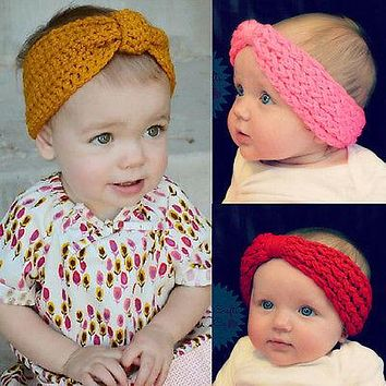 Fashion Baby Child Flower Hair Band Baby Girls Head wrap Kids Warm Ear Crochet Knit Headband Hairband Head wrap