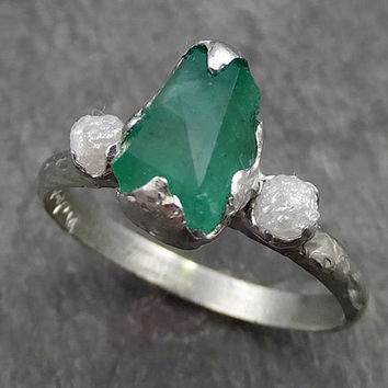 Partially faceted Three Stone Diamond Emerald Engagement Ring 18k Gold Multi stone Wedding Ring Birthstone Stacking Rough Diamond 0556