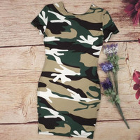 Camouflage Print Round Neck Package Hip Dress