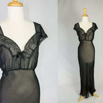 Vintage 1930's Black  Chiffon Nightgown Bias Cut Beauty Full Length
