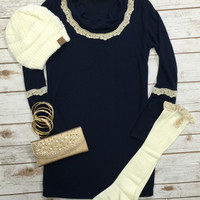Snuggle With Me Tunic: Navy