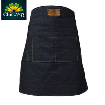 Handmade Personalized Sleeveless, Denim ,Cotton, Woman's Apron With Genuine Leather -Stylist Apron -