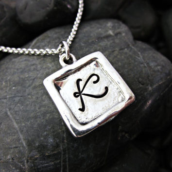 Monogram Necklace - Silver Monogram - Square Monogram