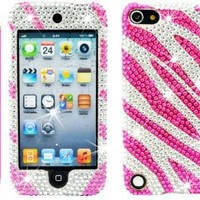 """The Friendly Swede (TM) Bling Rhinestone Case for iPod Touch 5 + Hot Pink 4.5"""" Stylus + Tool + Retail Packaging (Hot Pink and Silver Zebra)"""