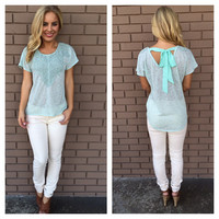 Mint Crochet Tied Up Bow Top
