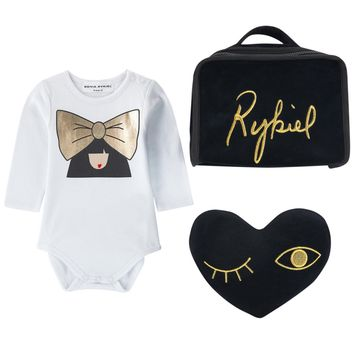 Sonia Rykiel Baby Girls Romper & Toy Cushion Gift Set