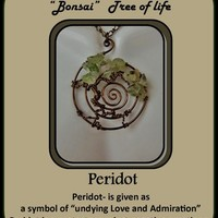 Peridot, tree of life jewelry, sacred spiral, healing jewelry, mother
