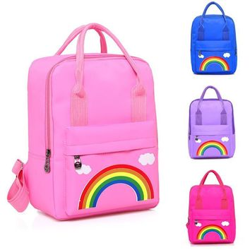 New rainbow pattern children's hand bag kindergarten school bags 3-6 years large capacity kids boys girls canvas backpack