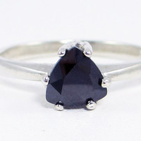 Jet CZ Trillion Ring Sterling Silver, Cubic Zirconia Ring, Black CZ Ring, Sterling Silver Ring, 925 Ring