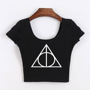ICIK9 Short Sleeve Sexy Harry Potter Crop Top Tops T-shirts [10016875341]