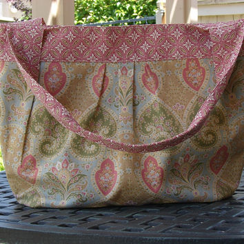 Large Purse or Tote in Pink Blue and Green - Diaper Bag - Tote Bag - Beach Bag - Gym Bag - Overnight Bag - Shopping Bag - Yarn Tote