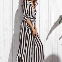 Striped Belt Turn Down Collar Day Dresses - NOVASHE.com