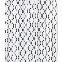 "Royal Bath Squiggly Lines Geneva Fabric Shower Curtain with Poly Taffeta Flocking in Black/White Size: 70"" x 72"""
