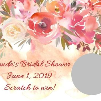 10 Peach Floral Bridal Shower Scratch Off Cards