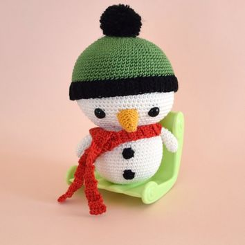Crochet Snowman - christmas decoration - amigurumi christmas - Thanksgiving - StorylandAmis - Winter - Snowball - Made in France